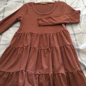Long sleeve tunic/dress. Empire waist with ruffle